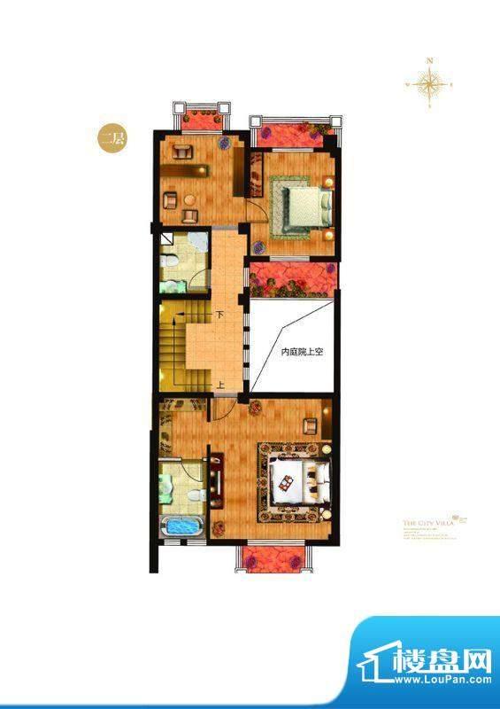 城与墅c3户型二层 4室3厅4卫1厨