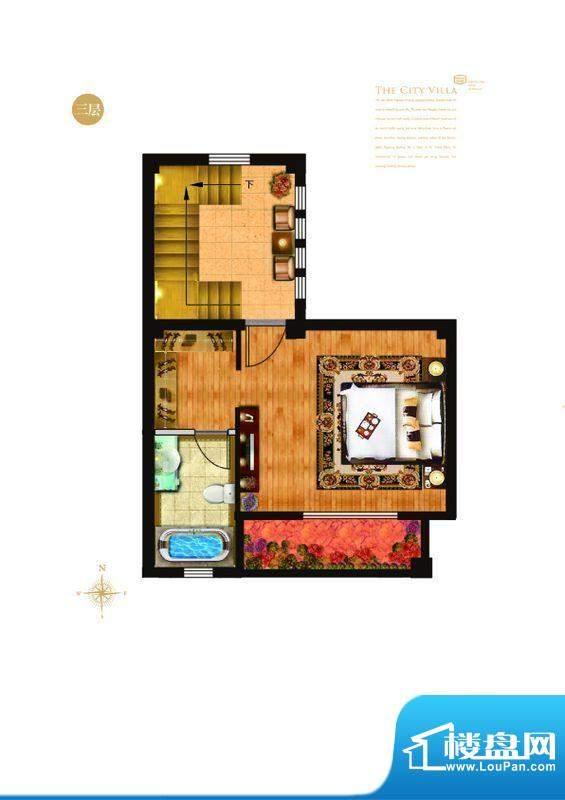 城与墅c3户型三层 4室3厅4卫1厨
