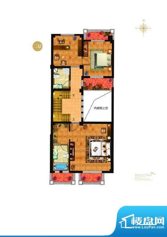 城与墅c4户型二层 4室3厅4卫1厨