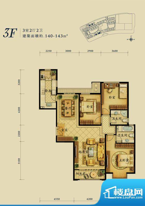融科钧廷3F户型 3室2厅2卫1厨面积:140.00平米