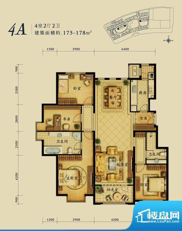 融科钧廷4A户型 4室2厅2卫1厨面积:175.00平米