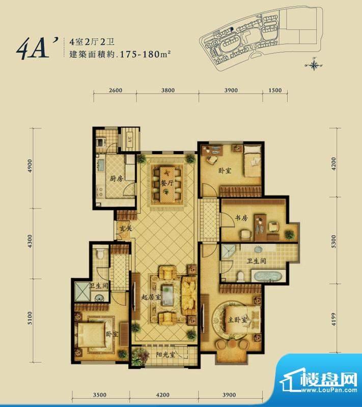融科钧廷4A'户型 4室2厅2卫1厨面积:175.00平米