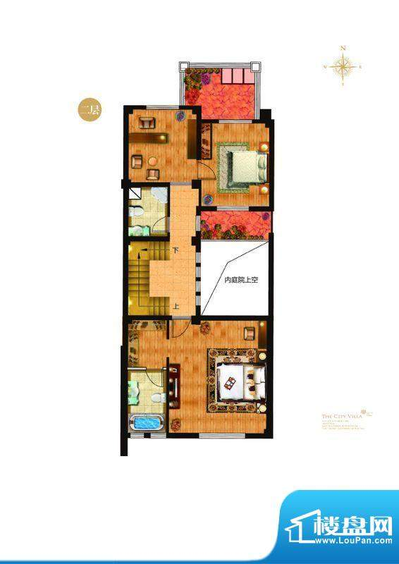 城与墅c1户型二层 4室3厅4卫1厨