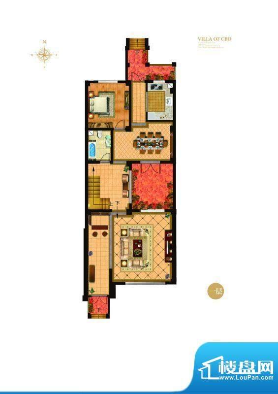 城与墅c3户型一层 4室3厅4卫1厨