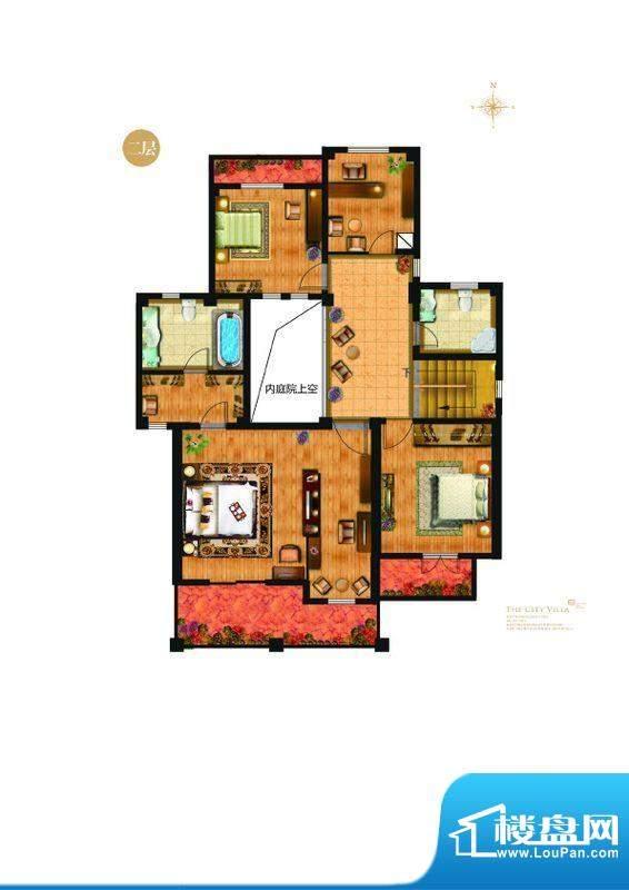 城与墅A1户型二层6室2厅4卫1
