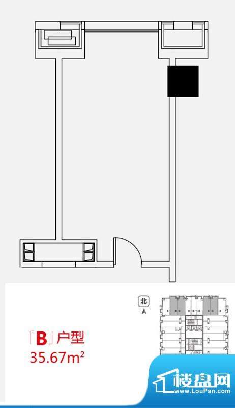 小悦城B户型开间 面积:35.67平米