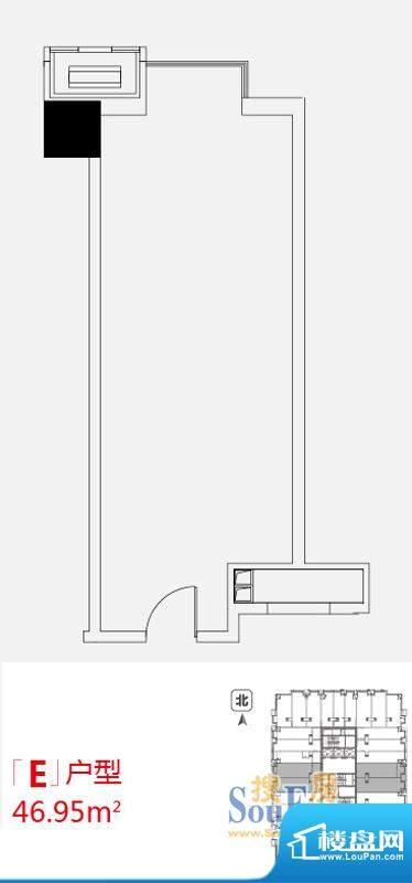 小悦城E户型开间 面积:46.95平米