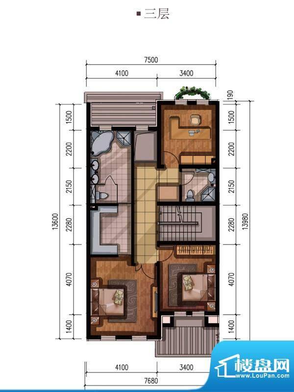 万通龙山逸墅三层中户型 3室1厅
