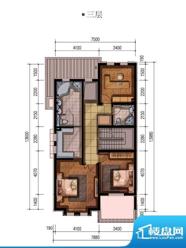 万通龙山逸墅三层边户型 3室1厅
