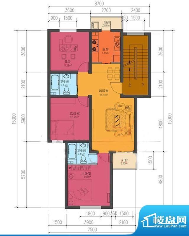 龙庆望都佳园三居户型 3室2厅2面积:101.63平米