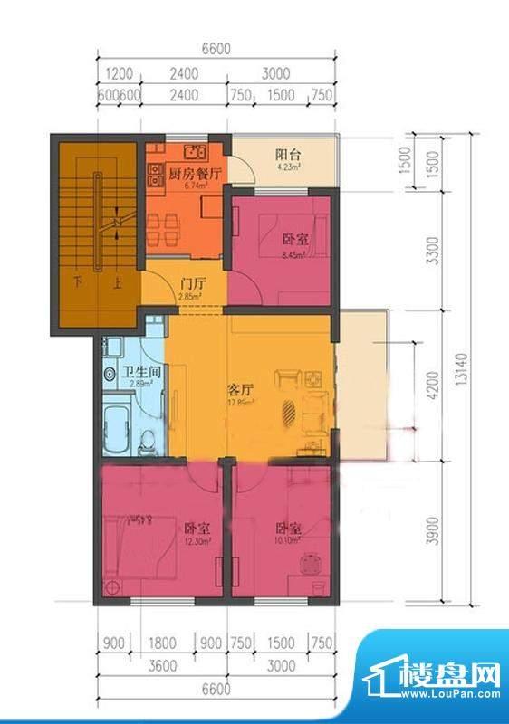 龙庆望都佳园三居户型 3室2厅1面积:88.63平米