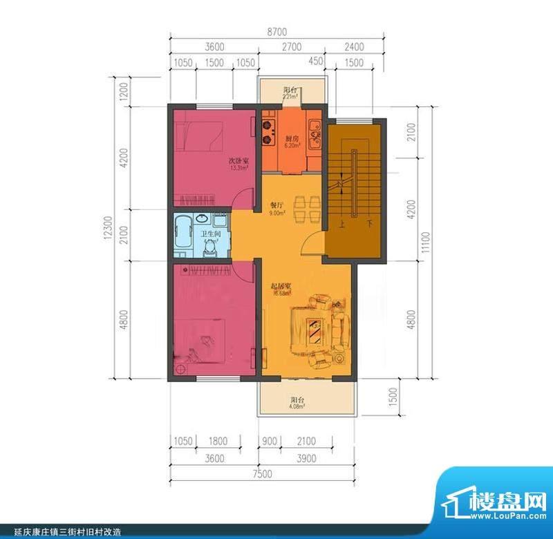 龙庆望都佳园两居户型图 2室2厅面积:87.00平米