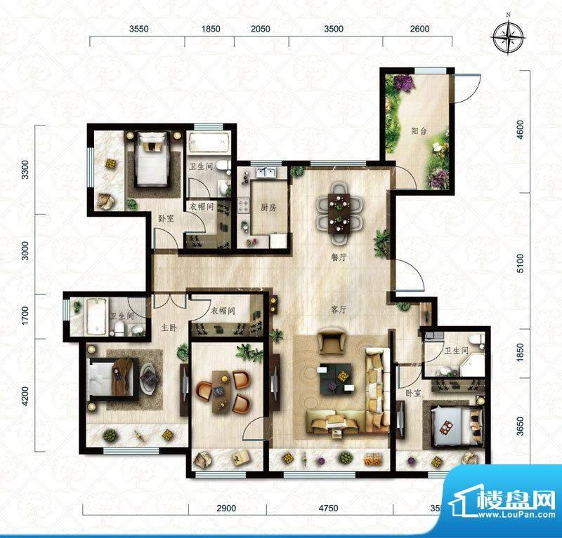 保利中央公园D3户型 4室2厅2卫面积:178.00平米