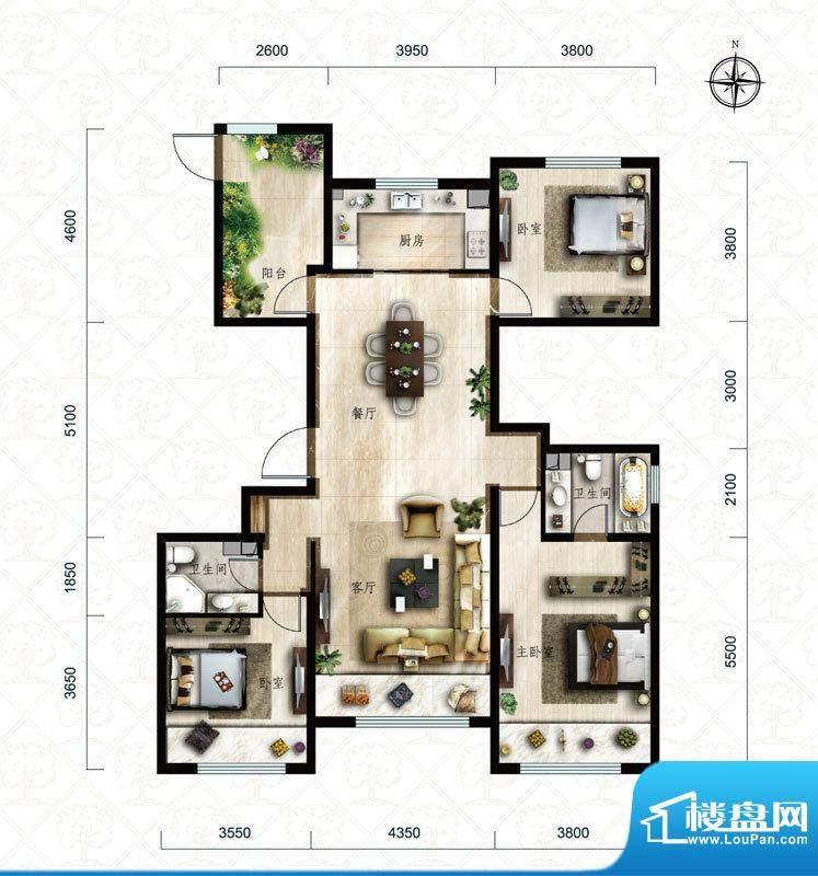 保利中央公园C5户型 3室2厅2卫面积:148.00平米