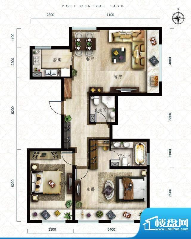 保利中央公园B3户型 2室2厅2卫面积:117.00平米