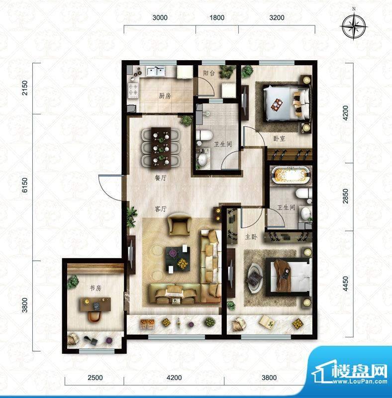 保利中央公园C1户型 3室2厅2卫面积:116.00平米