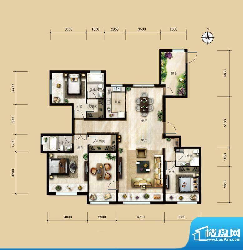 保利中央公园D3户型 4室2厅3卫面积:175.00平米