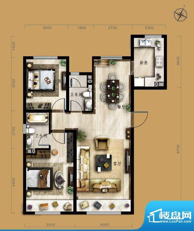 保利中央公园B2户型 2室2厅2卫面积:105.00平米