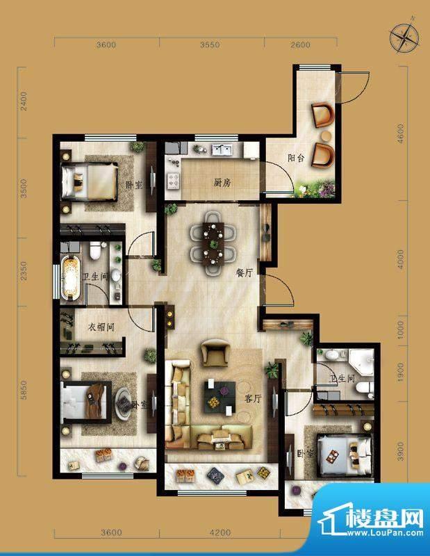 保利中央公园C3户型 3室2厅2卫面积:134.00平米