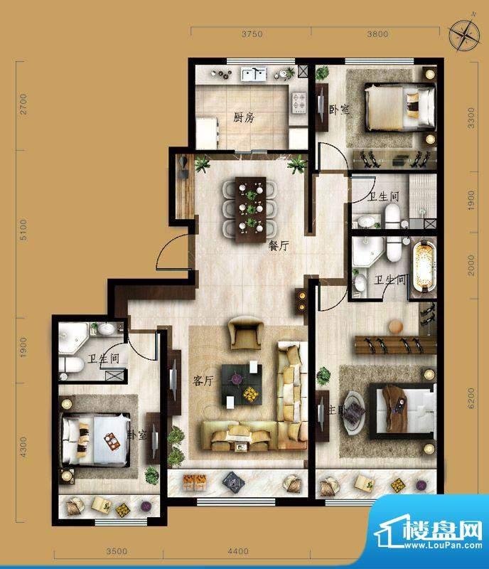 保利中央公园C4户型 3室2厅3卫面积:147.00平米
