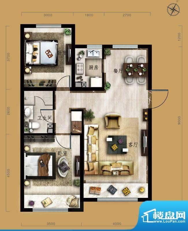 保利中央公园B1户型 2室2厅1卫面积:89.00平米