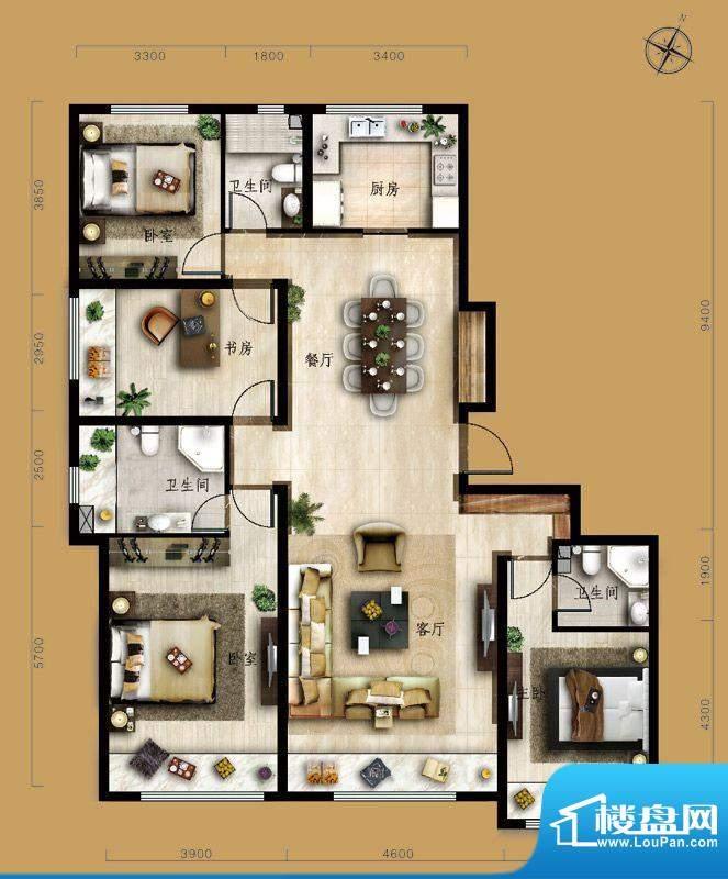保利中央公园D2户型 4室2厅3卫面积:167.00平米