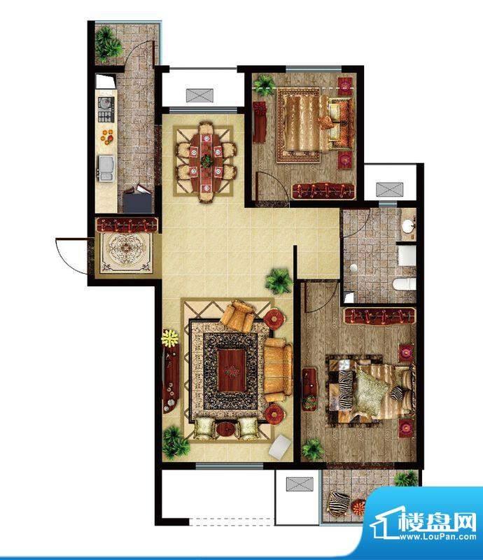 东亚逸品阁C2户型 2室2厅1卫1厨面积:95.00平米