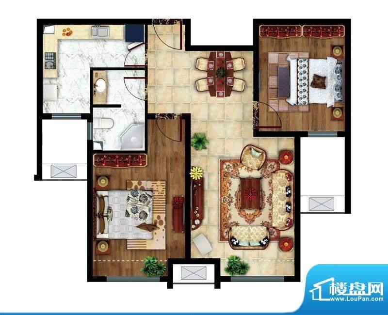东亚逸品阁B户型 2室2厅1卫1厨面积:85.00平米