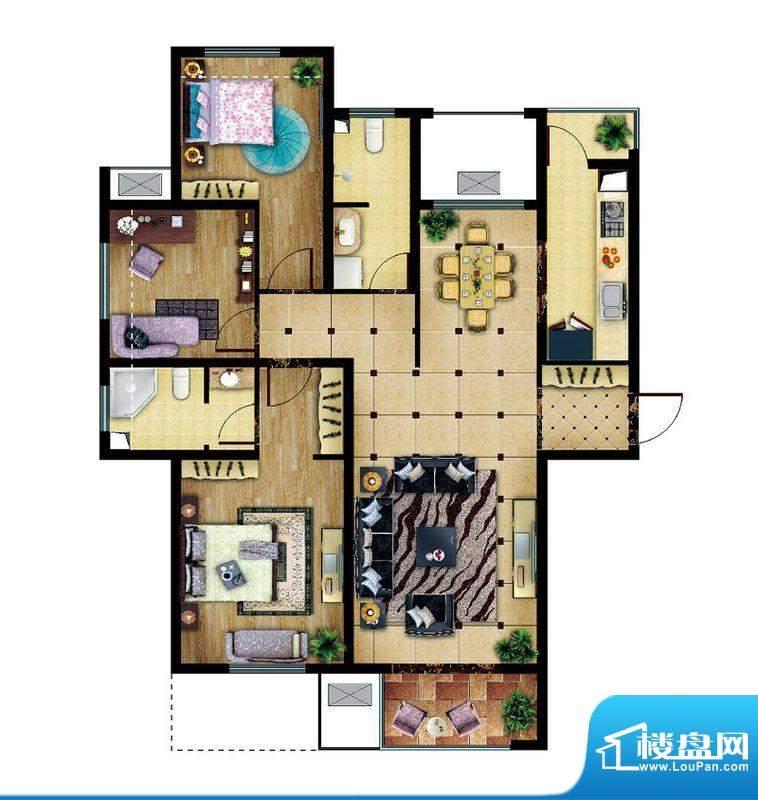 东亚逸品阁A1户型 3室2厅2卫1厨面积:115.00平米