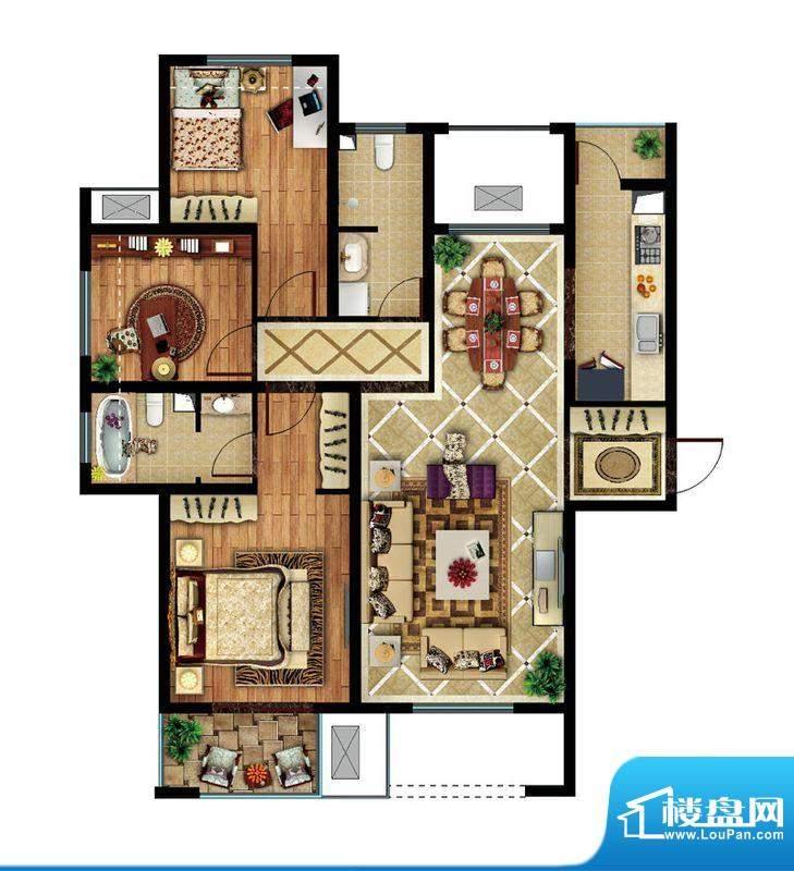 东亚逸品阁A2户型 3室2厅2卫1厨面积:115.00平米