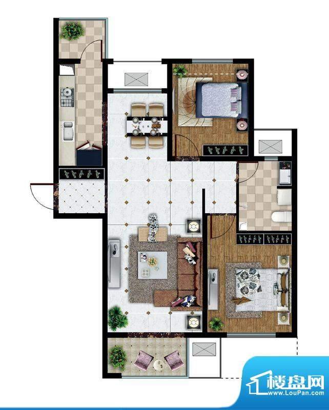 东亚逸品阁C1户型 2室2厅1卫1厨面积:95.00平米