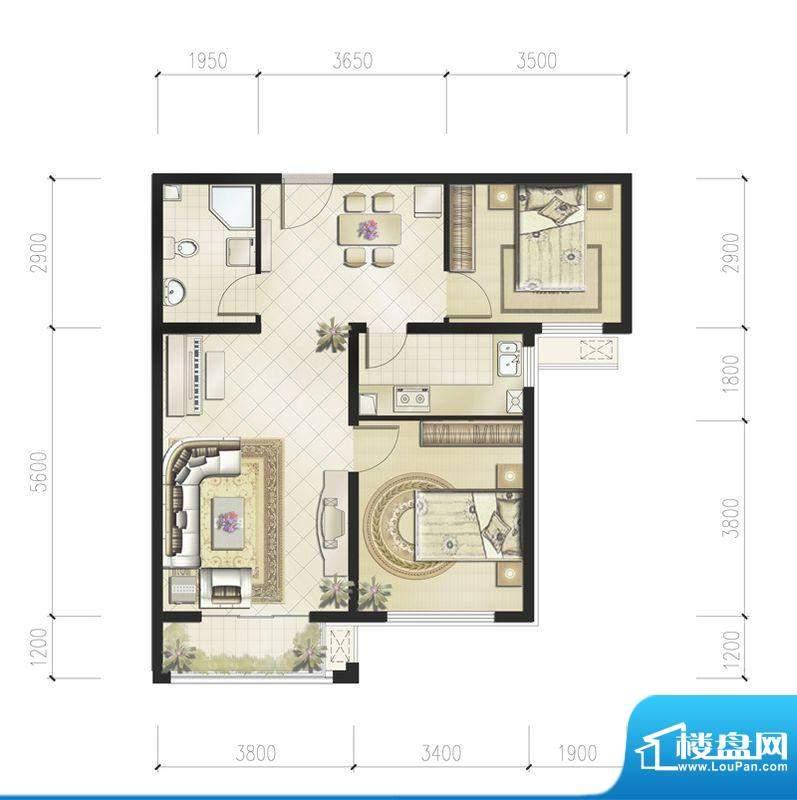 恒华·安纳湖北区2居户型 2室2面积:88.00平米