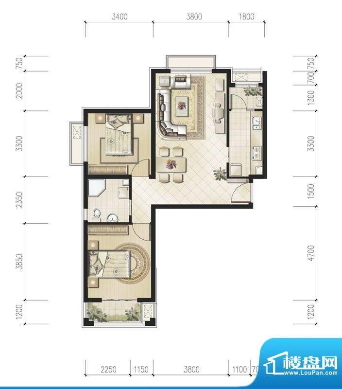 恒华·安纳湖北区2居户型 2室1面积:88.00平米