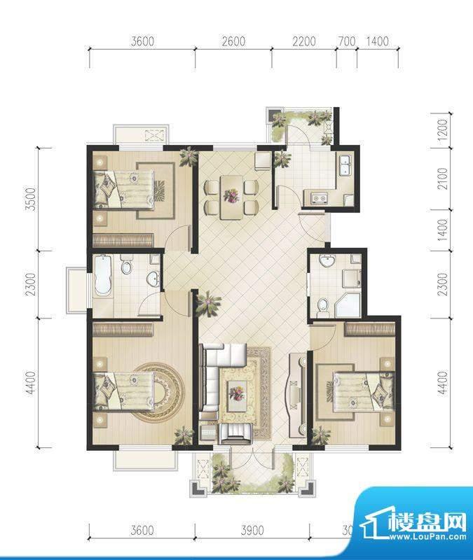 恒华·安纳湖北区3居户型 3室2面积:118.50平米