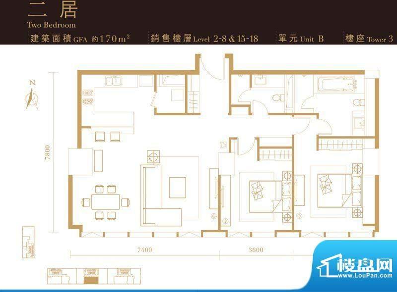 瑞安·君汇二居户型图 2室2厅2面积:170.00平米