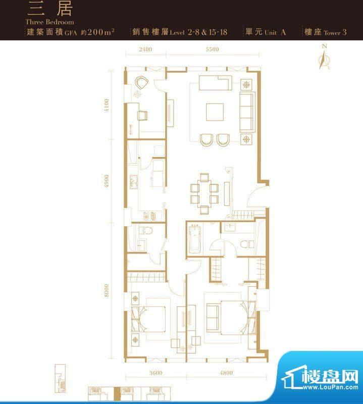 瑞安·君汇三居户型图 3室2厅3面积:200.00平米