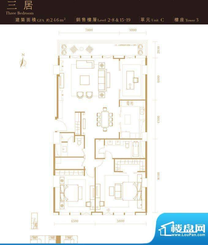 瑞安·君汇三居户型图 3室2厅2面积:246.00平米