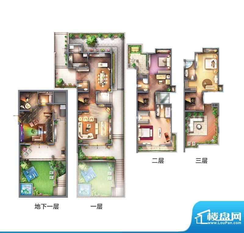 御翠·尚府复式洋房平面图 5室面积:330.00平米