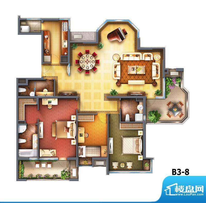 御翠·尚府3居户型图 3室2厅3卫面积:210.00平米