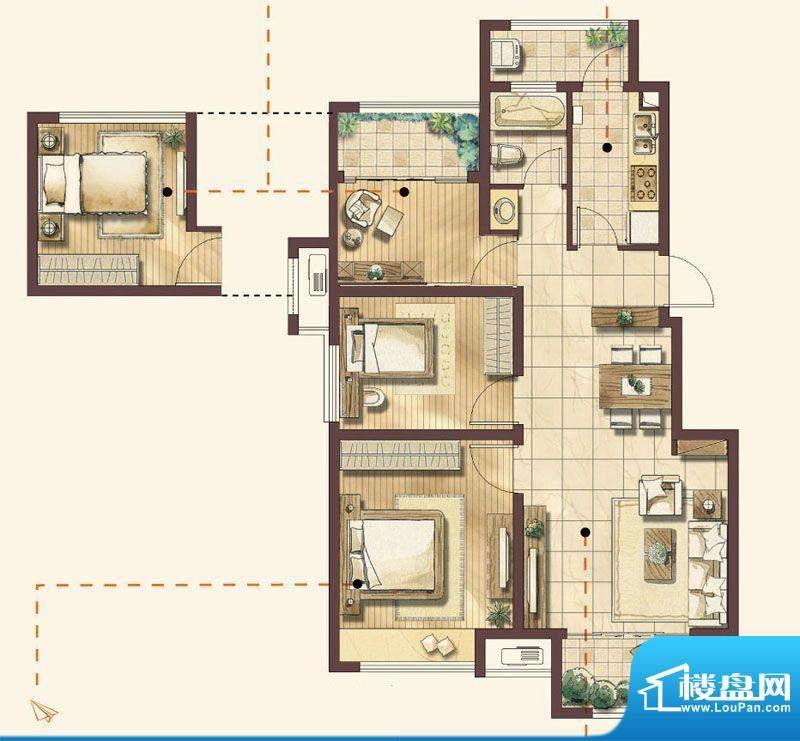 绿地蔷薇四季户型图 2室1厅1卫面积:94.00平米