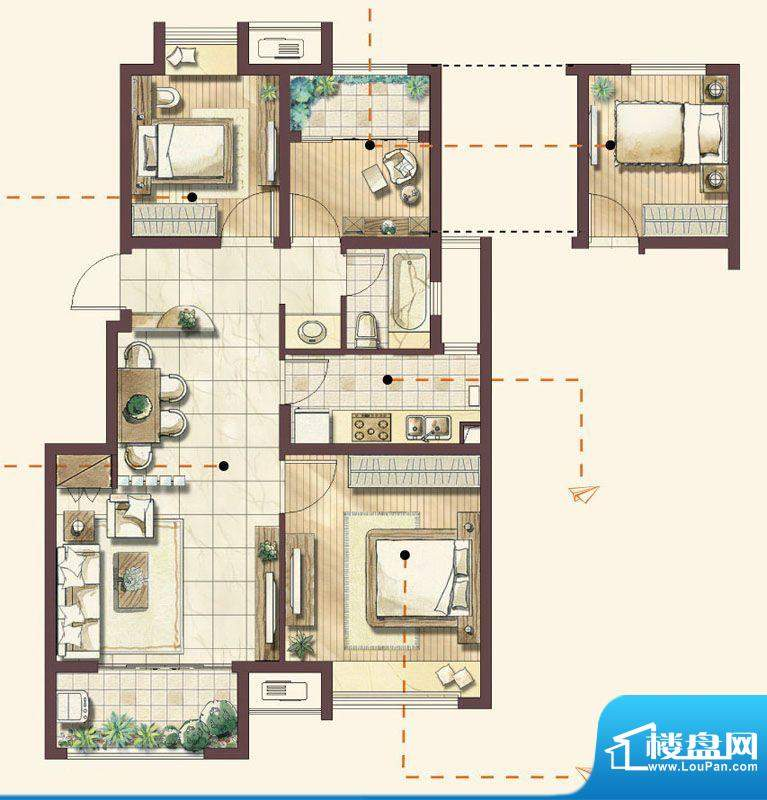绿地蔷薇四季户型图 2室1厅1卫面积:89.00平米
