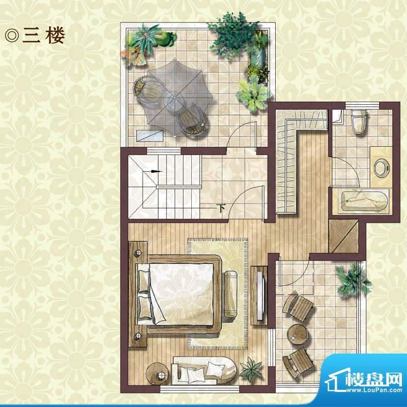 绿地蔷薇四季雍景美墅3楼户型图面积:133.00平米