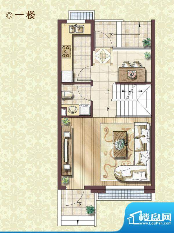 绿地蔷薇四季尊崇艺墅1楼户型 面积:99.00平米