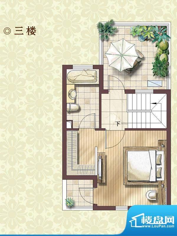 绿地蔷薇四季尊崇艺墅3楼户型图面积:99.00平米