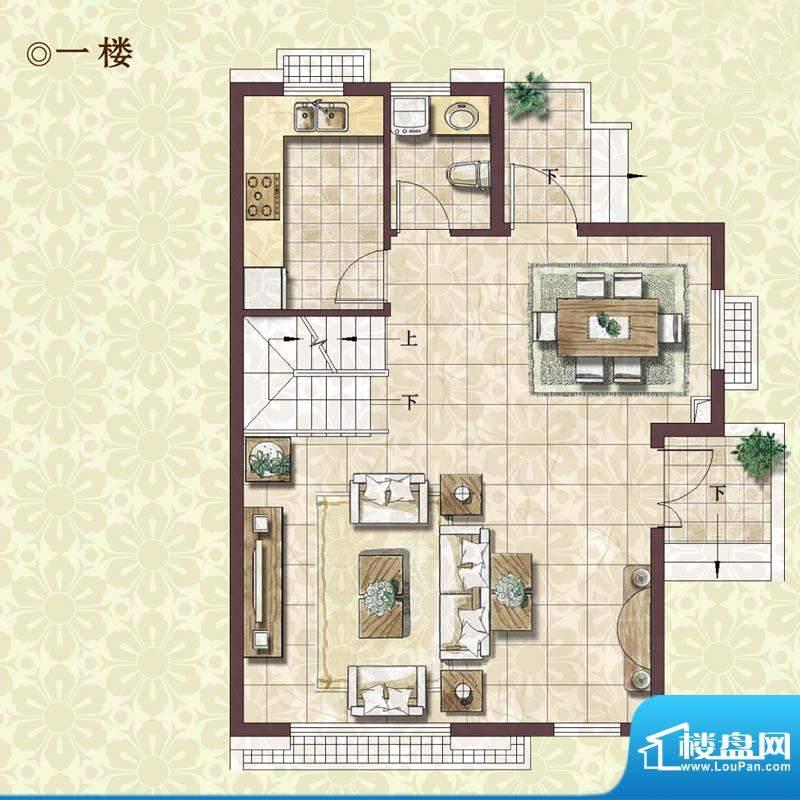 绿地蔷薇四季雍景美墅1楼户型图面积:133.00平米