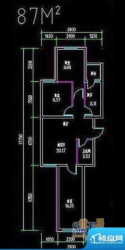 高教新城·学区嘉园87平米三居面积:87.00平米