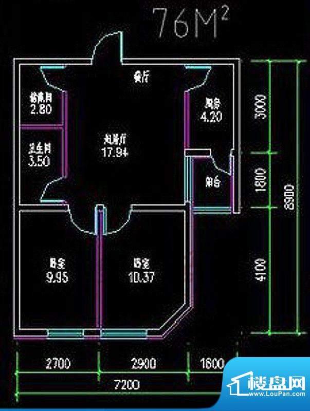 高教新城·学区嘉园76平米二居面积:76.00平米