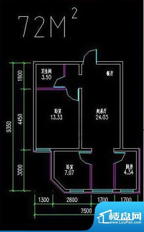 高教新城·学区嘉园72平米二居面积:72.00平米