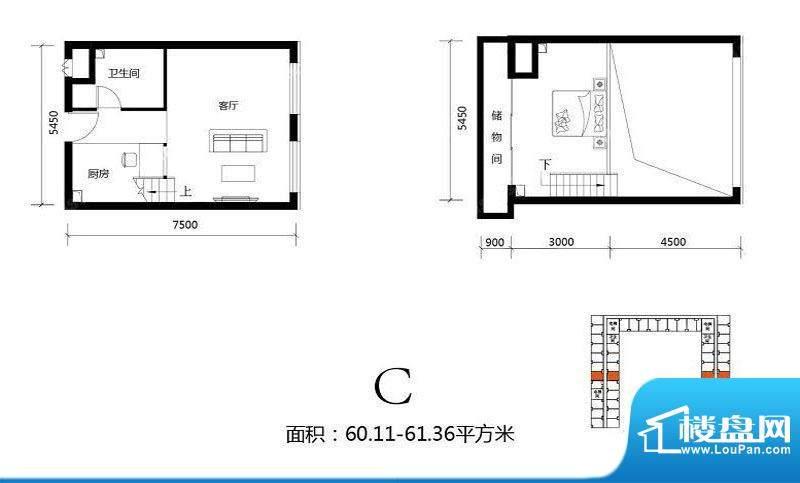 北京城建·N次方21#综合楼C户型面积:60.11平米