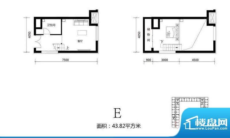 北京城建·N次方21#综合楼E户型面积:43.82平米